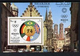 Sharjah 1972 Football Imperf M/sheet U/m, Mi BL 148 FOOTBALL SPORT FLAGS BUSES - Sharjah