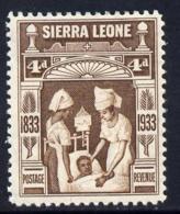 Sierra Leone 1933 KG5 Wilberforce & Abolition Of Slavery 4d Brown M/m SG 173 MEDICAL - Sierra Leone (1961-...)