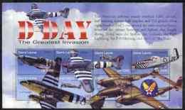 Sierra Leone 2004 60th  Anniv Of D-day Landings MILITARIA  WW2  TANKS AVIATION SPITFIRE MUSTANG TYPHOON Perf M/sheet #3 - Sierra Leone (1961-...)
