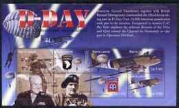 Sierra Leone 2004 60th  Anniv Of D-day Landings MILITARIA WW2 AVIATION PERSONALITIES PARACHUTES Perf M/sheet #6 8 X 1100 - Sierra Leone (1961-...)