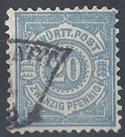 Württemberg, 1875 Cypher 20pf Ultra # Michel 47 - Scott 61 - Yvert 47 USED - Wurtemberg