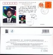 SOUTH SUDAN  Südsudan 3.5 SSP Salva Kiir Stamp Cancelled On Chinese Commemorative Cover Of 2012 Soudan Du Sud #283b - Südsudan