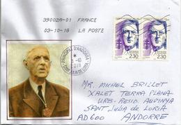 Charles De Gaulle (paire)  Sur Lettre  Adressée Andorra, Avec Timbre à Date Arrivée - De Gaulle (Generaal)