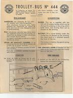 Jouet Joustra Fiche Technique Trolley Bus N 444 Papier 17 X 21,5 Cm - Planches & Plans Techniques
