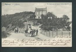 FAIRON  (Comblain) Animée, Attelage, Calèche Devant L'Ecole. Pub Pour Le Cognac Coelen. Heintz Jadoul. 2 Scans. - Hamoir