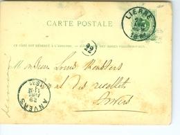 Carte Correspondance AS CàD Lierre Et Anvers1881 De Pooter Banquiers Entier Postal Postwaardestuk - Ganzsachen