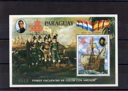 Paraguay / 500 Anniversaire Christophe Colomb Bloc + 2 Valeurs Dentelés MNH Départ 3.00 Euros - Cristóbal Colón