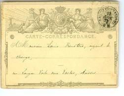 Carte Correspondance AS CàD Louvain Et Anvers Quirini 187? Entier Postal Postwaardestuk - Ganzsachen