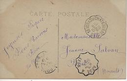 Convoyeur 1910-severac Le Chateau à Beziers + Agde à Méze Sur Cpa Fantaisie - Marcophilie (Lettres)