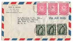 Haiti Airmail Cover 1951 Port Au Prince To New York US Sc 381 389 Don Mohr Corner Card - Haiti