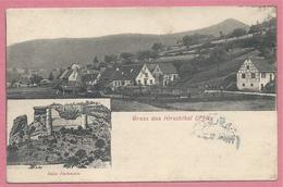 GRUSS Aus HIRSCHTHAL Kreis SCHÖNAU ( Pfalz ) - Schloss FLECKENSTEIN - Stempel Posthilfstelle HIRSCHTHAL - 3 Scans - Sin Clasificación