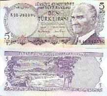 Turkey  P-185  5 Lirasi  1975 UNC - Turchia