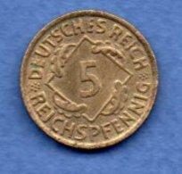 Allemagne  -  5 Reichspfennig 1936 A - Km # 39-  état  SUP - [ 3] 1918-1933 : Weimar Republic