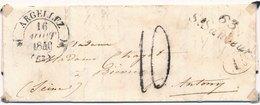 Lettre CaD Argeliez + Cursive 63 ST Sauveur Hautes Pyrenees Taxe 10 + ID - 1801-1848: Vorläufer XIX