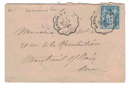 """1893 - CACHET AMBULANT CONVOYEUR """" SANNOIS À PARIS """" Sur LETTRE ENVELOPPE AFFRANCHIE SAGE 15c BLEU Pour MONTREUIL - Marcophilie (Lettres)"""