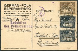 1921 Poland German-Pola Esperanto Postcard Bromberg / Bydgoszcz - 1919-1939 Republic