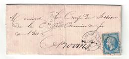 """1867 - CACHET AMBULANT CONVOYEUR """" LANGRES À PARIS """" + LOSANGE LP Sur NAPOLEON N° 22 Sur LETTRE Pour PROVINS - Marcophilie (Lettres)"""