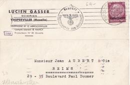 Carte-Lettre De Abreschviller (T 329 Alberschweiler Lothr A Noir) TP Lothr 15pf=1°éch Etr Le 28/1/41 Pour Reims - Postmark Collection (Covers)