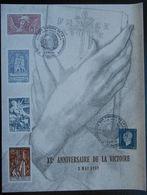 Encart XL Anniversaire De La Victoire 8 Mai 1985 Oblitération Exposition Des Timbres De La Libération Reims 8 9 Mai 1984 - Seconda Guerra Mondiale