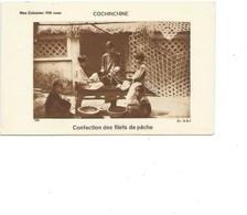 Indochine Cochinchine Confection Des Filets De Pêche  TB 80 X 50 Mm Colonies Françaises - Cromo