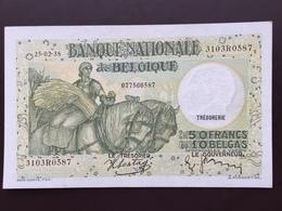 BELGIUM P106 50 FRANCS 25.02.1938 AUNC - [ 2] 1831-... : Belgian Kingdom