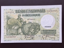 BELGIUM P106 50 FRANCS 25.02.1938 AUNC - [ 2] 1831-... : Koninkrijk België