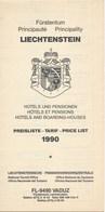 Liechtenstein Hotels Und Pensionen Preisliste 1990 Faltblatt Doppelt 4 Seiten - Reiseprospekte