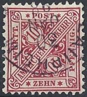 Württemberg, 1881 OFFICIAL 10pf Rose, Unwmk. # Michel 203 - Scott O99 - Yvert S10 USED - Wuerttemberg