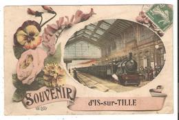 CPA 21 Souvenir D'IS Sur TILLE - Gare Train Pensées Roses 1908 - Is Sur Tille