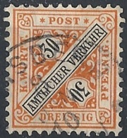 Württemberg, 1907 OFFICIAL 30pf Org & Blk, Wmk Crosses And Circles. # Michel 233 - Scott O130 - Yvert S51 USED - Wuerttemberg