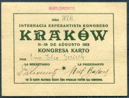 1912 Esperanto Congress Ticket Krakow Poland - Tickets - Vouchers