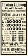 Original-Werbung/ Anzeige 1902 - LOTTERIE / GEWINN-ZIEHUNG / SCHRÖDER - STETTIN - Ca. 45 X 90 Mm - Publicités
