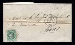 L.211 - LEDE Sur 10c (cob 30) - Lettre Vers MONS (1871) - Boite L Non Déterminée - Postmark Collection