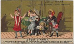 Chromo H.Laas 600 Fond Or - Le Pont D'Amour 5 Enfants Dont 2 Amoureux - Poulain