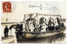 """D06  . Carte Photo 1914  . VILLEFRANCHE Sur MER . CANOT FLEURIE  """" Cuirasse Justice """" . - Villefranche-sur-Mer"""