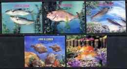 Umm Al Qiwain 1972 Fishes Set Of 5 In 3-dimensional Format On Plastic Card  U/m, Mi 690-94 FISH  3D - Umm Al-Qiwain