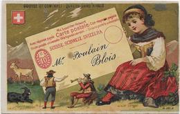 Chromo H.Laas 581 Fond Or - La Suisse Carte Postale Union Universelle Adressée à Mr Poulain Blois - Poulain