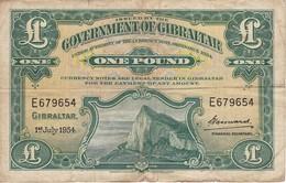 BILLETE DE GIBRALTAR DE 1 POUND DEL AÑO 1954  (BANKNOTE-BANK NOTE) RARO - Gibraltar