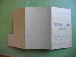 CARTE DE TABAC 1918/19 M CHARLES  GARNERO RUE MACON FOURNISSEUR RUE SABLIERE  VILLE LE CREUSOT SAONE ET LOIRE - Documents