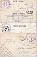 Lot De 4 Cartes De La Même Archive Avec Cachet 'Train Sanitaire Semi-permanent N° 2' (2 Modèles De Cachets Différents) - Postmark Collection (Covers)