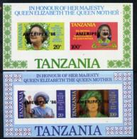 Tanzania 1986 Queen Mother POSTAL ROYALTY STAMP EXHIBITIONS Imperf Proof Set Of 2 M/ss Each With 'AMERIPEX 86' Opt In Bl - Tanzania (1964-...)