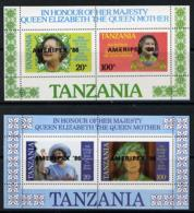 Tanzania 1986 Queen Mother POSTAL ROYALTY STAMP EXHIBITIONS Perf Proof Set Of 2 M/ss Each With 'AMERIPEX 86' Opt In Blac - Tanzania (1964-...)