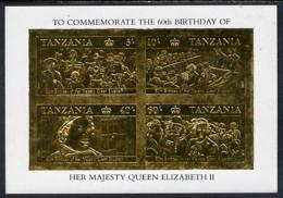 Tanzania 1987 Queen's 60th Birthday Imperf Souvenir Sheet ROYALTY The 4 Values Embossed In 22k Gold Foil U/m (as SG MS 5 - Tanzania (1964-...)