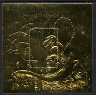 Tanzania 1996 Dinosaurs (Fossil Animals) 500s Souvenir Sheet Embossed In Gold Foil U/m DINOSAURS MINERALS FOSSILS - Tanzania (1964-...)