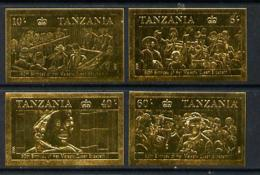 Tanzania 1987 Queen's 60th Birthday Imperf Set Of 4 Values Embossed In 22k Gold Foil U/m (as SG 517-20) ROYALTY - Tanzania (1964-...)