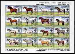 Tanzania 1996 World Scout Conference Overprinted On 1991 Horses Sheetlet Of 16 Values U/m SCOUTS HORSES - Tanzania (1964-...)