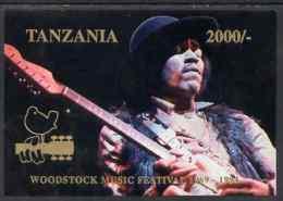 Tanzania 1994 25th Anniv Of Woodstock PERSONALITIES MUSIC ROCK POPS Imperf M/s (on Card) Showing Jimi Hendrix U/m - Tanzania (1964-...)
