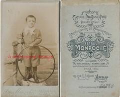 CDV Enfant Et Son Jouet Cerceau-photographie Petrus Monroché Rue Saint Antoine à Paris - Old (before 1900)