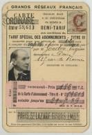 Carte SNCF Grands Réseaux 1938 . Abonnement 1 An Demi-tarif Sur Paris St-Lazare - Gisors . Eugène Gondon . - Titres De Transport