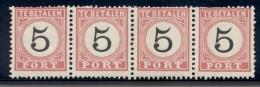 Nederlands Indië - 1881 - 5 Cent Port 2x Type III En 2x Type IV In Postfrisse Strip Van 4 - MNH - Nederlands-Indië